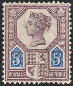1887-JUBILEE-SG207a-DIE-II-5d-PURPLE-amp-DEEP-BRIGHT-BLUE-SHADE-VARIETY-MINT-HINGE