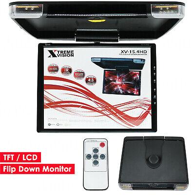 "15.4/"" Car Roof Mount Monitor TFT HD LCD Flip Down Car Monitor Screen TV Video BE"