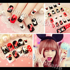 New 24pcs Cute Disney Mickey Mouse Fake False Full nail tip stickers glue N357