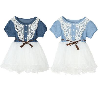 Toddler Kids Infant Baby Girls Denim Lace Princess Tutu Dresses Tuller Clothes