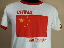 Vtg 1980 Olympics T Shirt China 50/50 Thin Ringer 80's  Flag Men L 42-44 Vintage