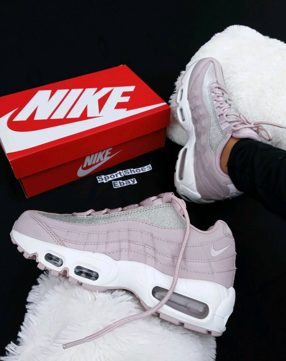 7.5 WOMENS NIKE AIR MAX 95 SE SHINE GLITTER AT0068 600 Particle pink PINK PURPLE
