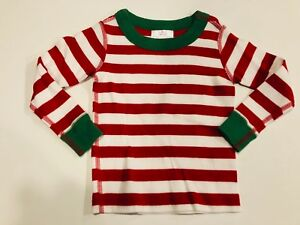 HANNA ANDERSSON Kid Red   Green Stripe PJ Long John Top- Size 18 24M ... 4963f536b