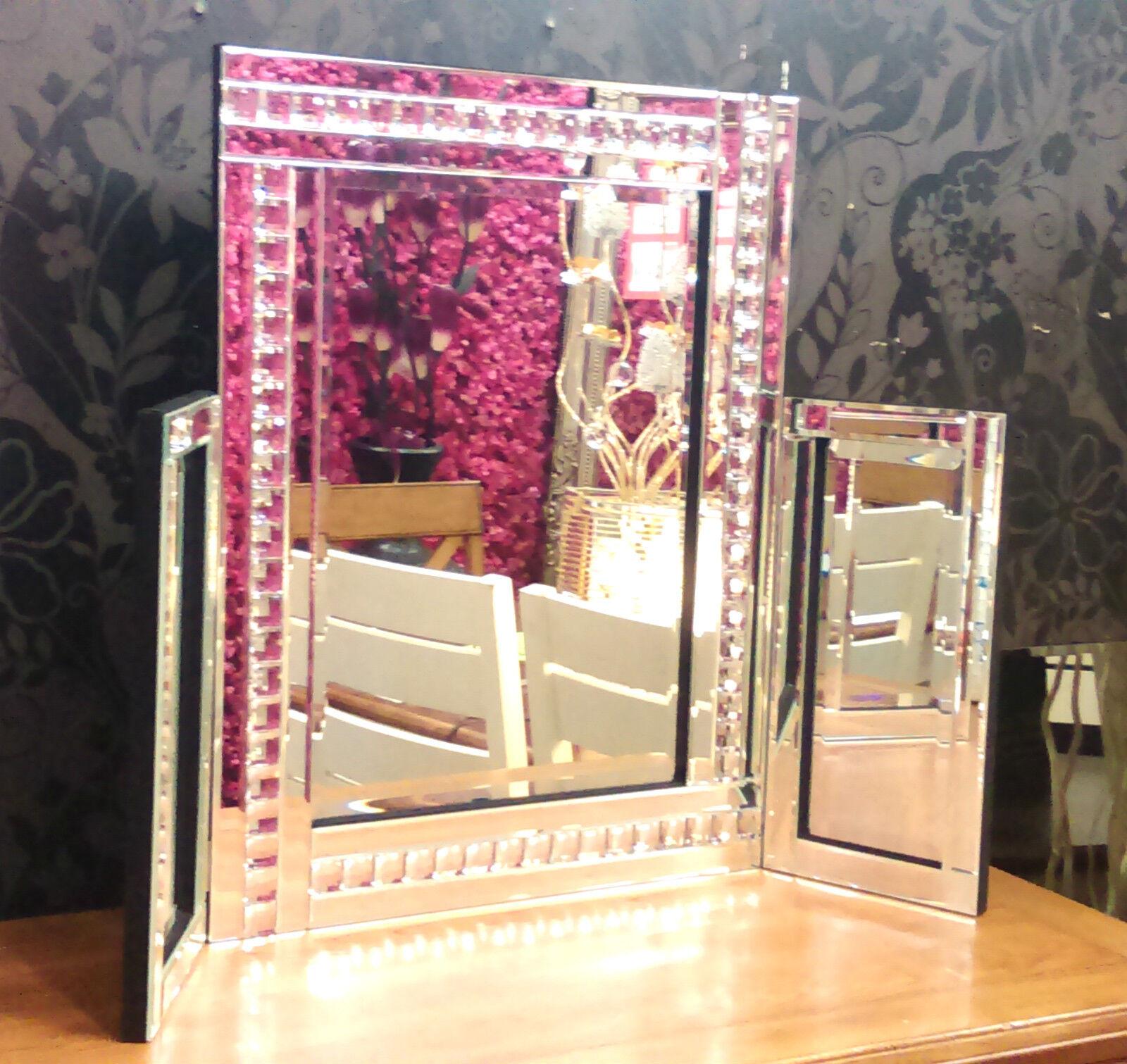 Neue Moderne Kristall Design Schminktisch-Spiegel Abgeschrägte Kante 87x63cm