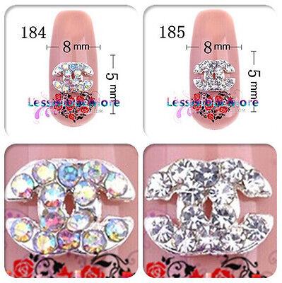 HOT 10-20pcs 8x5mm Design 3D Metallic Rhinestone Crystal Glitter Nail Art Decals