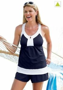 5963-PLUS-2-Pc-Navy-White-Swimsuit-Assorted-Sizes-Available