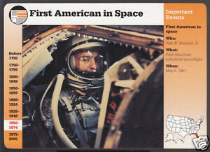 ALAN SHEPARD 1st American in Space 1961 NASA Photo GROLIER STORY OF AMERICA CARD | eBay