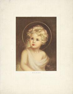 CHARLOTTE-BECKER-COX-Vtg-1935-Hafltone-Gravure-Print-Jesus-Christ-PEACE-ON-EARTH