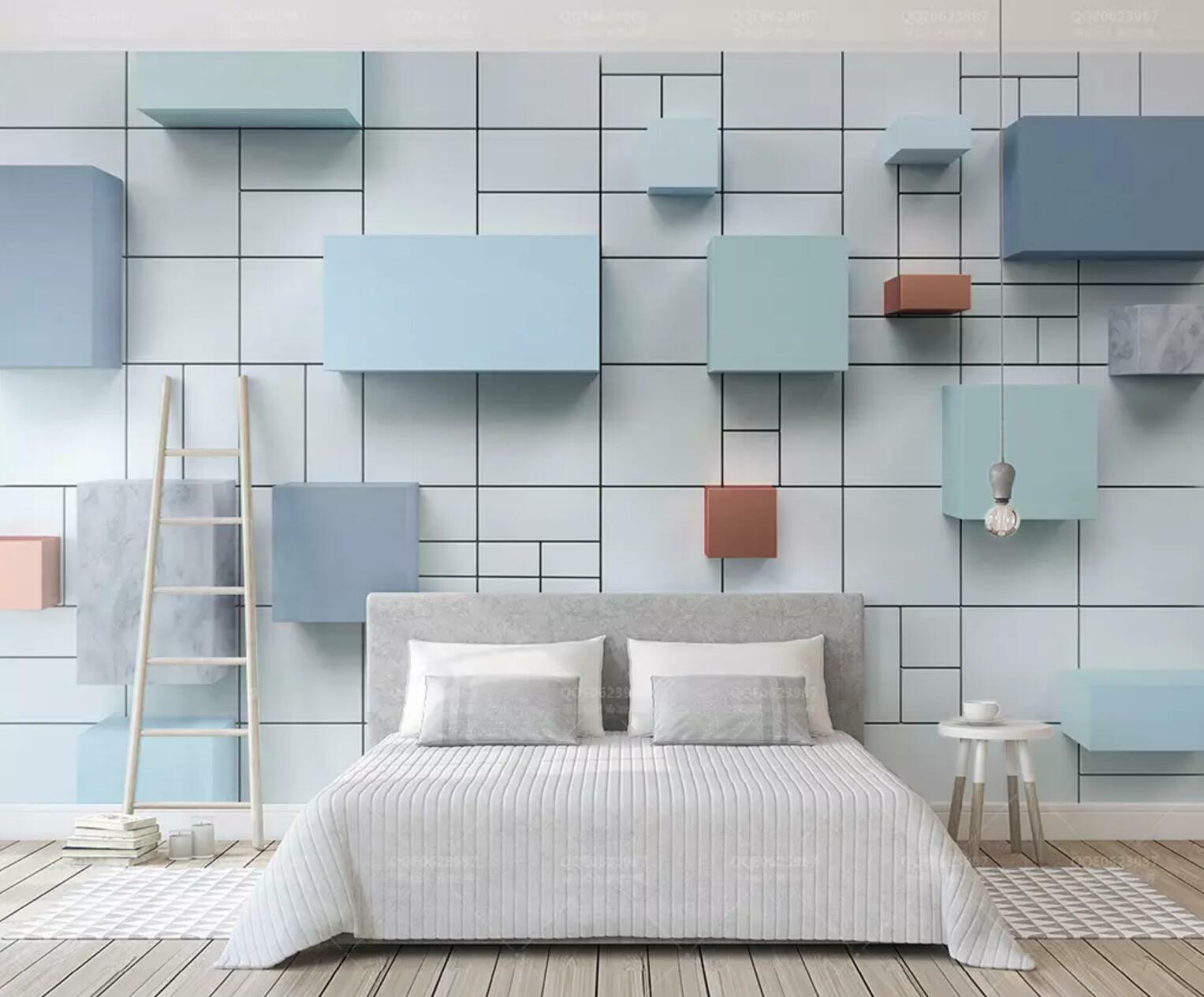 3D Blau Square 389 Wall Wall Wall Paper Exclusive MXY Wallpaper Mural Decal Indoor wall 7e4b17