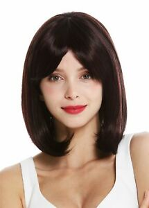 Details About Womens Wig Shoulder Length Long Bob Smooth Balayage Mahogany Red Strands