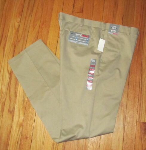 Roundtree Men Khaki Flat Travel Smart Straight Fit Pants 46x32 NWT