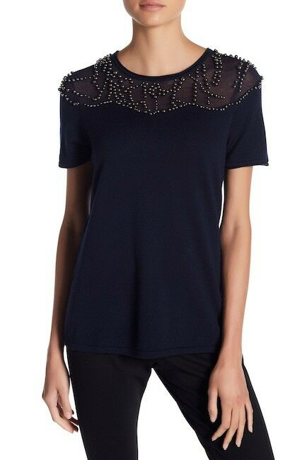 NWT ELIE TAHARI Brooklyn Beaded Wolle Sweater in lila Sz XL- 268