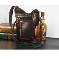 Men's Genuine Leather Outdoor Hiking Motorcycle Fanny Waist Pack Drop Leg Bags