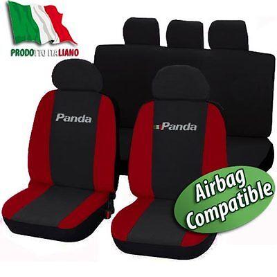 COPRISEDILI SPECIFICI LOGO FIAT PANDA DAL 2012 1//3-2//3 BICOLORE NERO-ROSSO