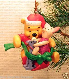 WINNIE THE POOH & PIGLET Rocking Horse Santa Hat CHRISTMAS ...