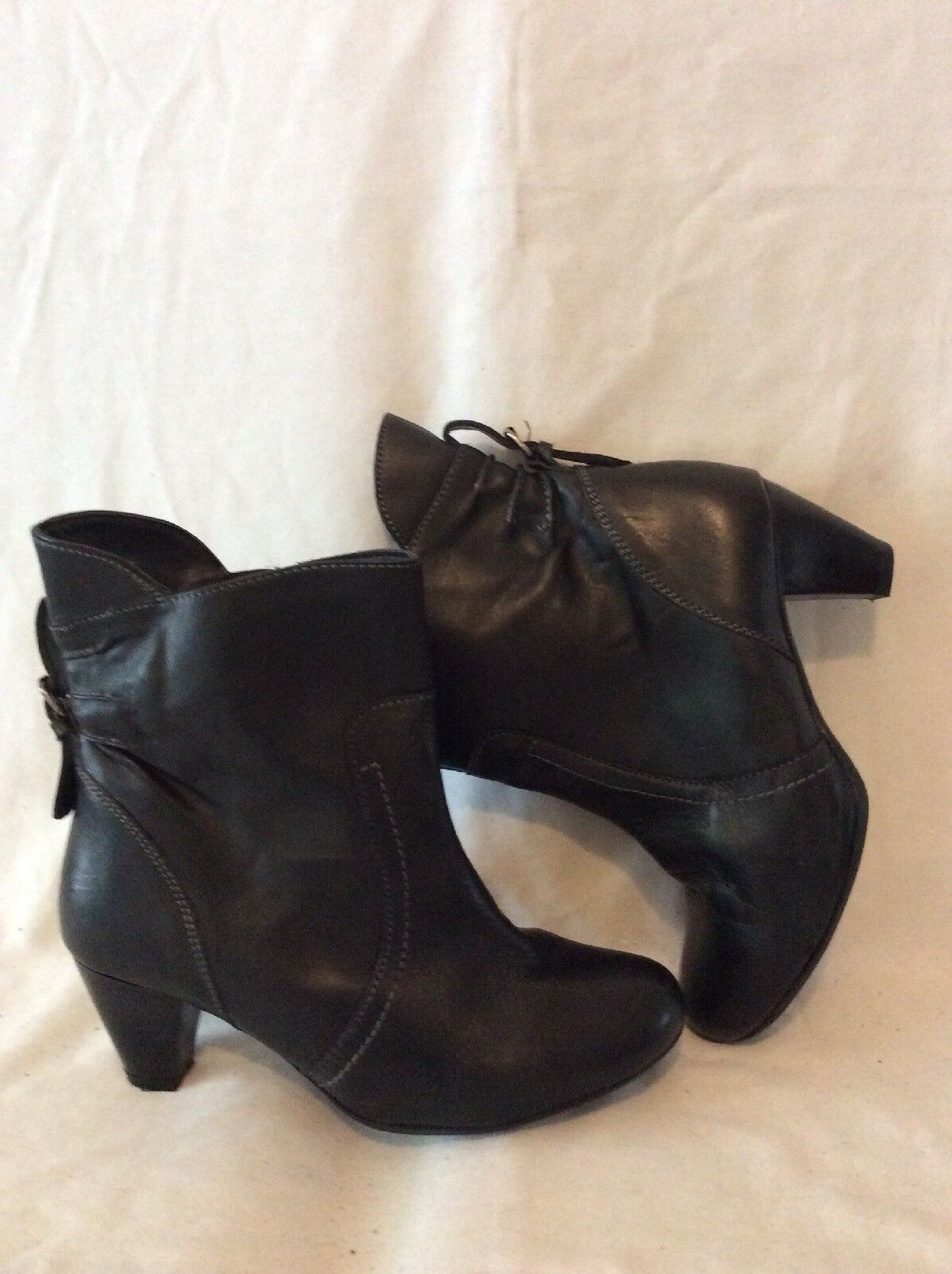 Kaleidoscope Black Ankle Leather Boots Size 5