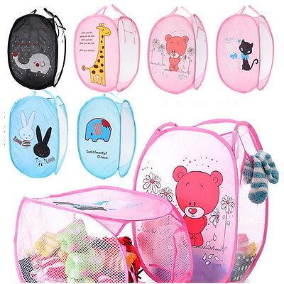 Foldable Pop Up Laundry Basket Hamper Washing Clothes Bag Bin Mesh Storage Cute