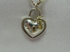 Vintage Tiffany Co 18k Sterling Silver Heart Lock Key Beaded Chain Necklace Ebay