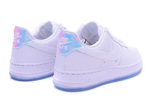 Details about Nike Air Force 1 PRM Iridescent Hologram MultiColor Triple White Ice Women's 11