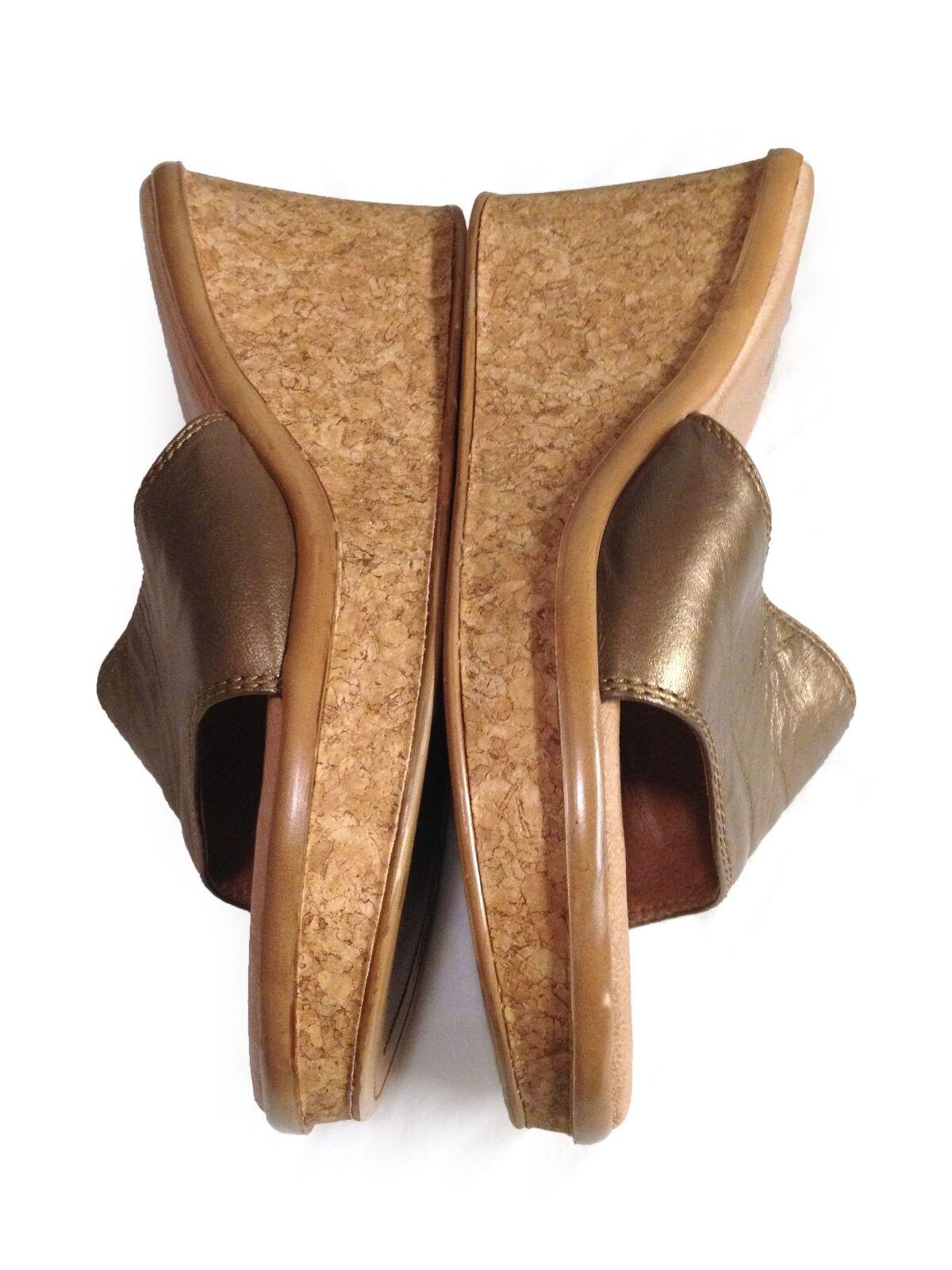Vis A Vie Metallic Bronze Genuine Leather & Cork Platform Wedge Heel Slides- 8