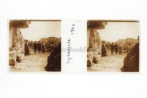 Syracuse-Sicilia-Italia-Placca-Stereo-Positive-45x107mm-Vintage-Ca-1900