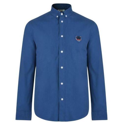 Kenzo Mens Tiger Crest Blue Poplin Shirt F765CH4001LB