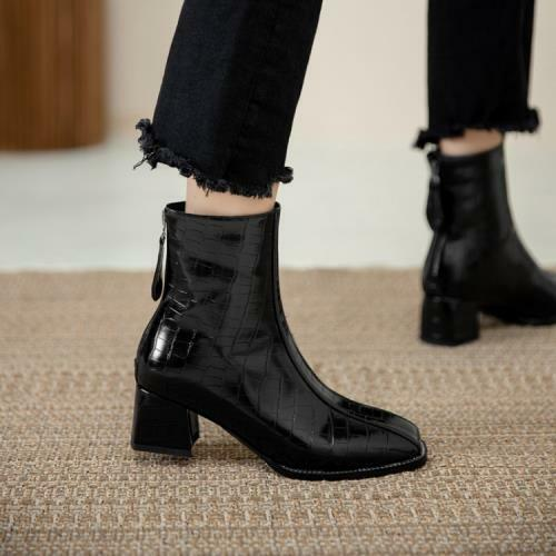 Details about  /Chelsea 45 46 47 Outdoor Women Smart Office Work Chunky Heel Ankle Boots Pumps D