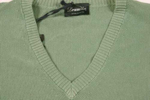 menta Algodón en pequeño V puro con mangas verde Drumohr cuello Suéter sin Tejido AwtqxPTB1