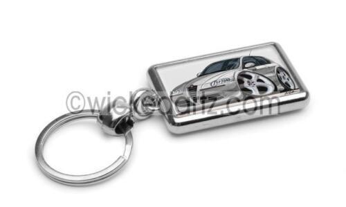 RetroArtz Cartoon Car Alfa Romeo 147 in Silver Premium Metal Key Ring