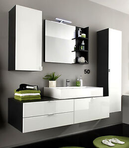 Badezimmer set  Bad Möbel Badezimmer Set weiss Hochglanz und grau Waschplatz ...