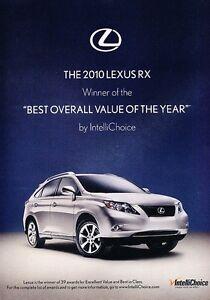 2010 Lexus RX - Best Award Value -  Original Advertisement Print Art Car Ad J555