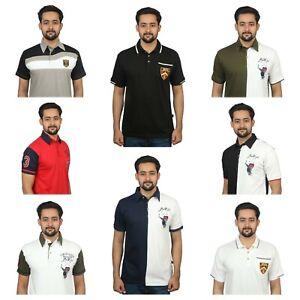 Mens-Half-Sleeve-Polo-T-shirt-100-Cotton