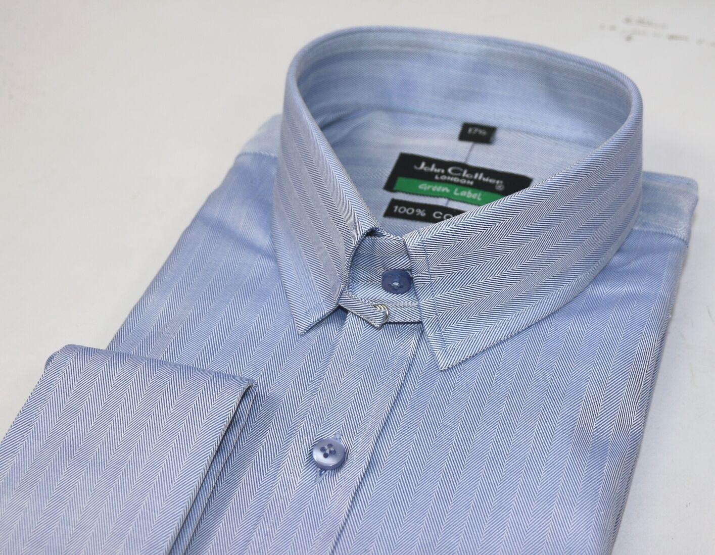 Herren Tab Kragen Weiß Hemd Manschettenknöpfe Fischgrätenmuster Loop Bond James