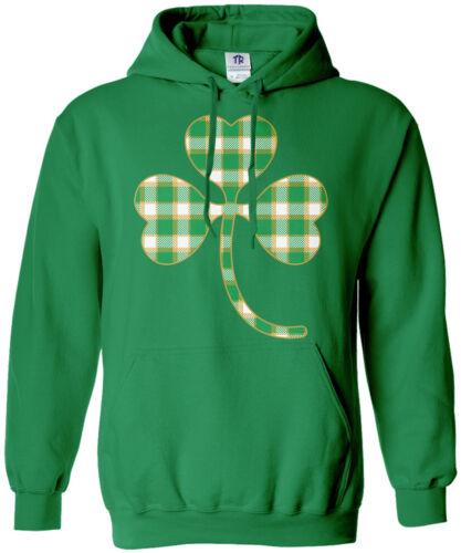 Patrick/'s Day Irish Pride Plaid Shamrock Unisex Hoodie Sweatshirt St