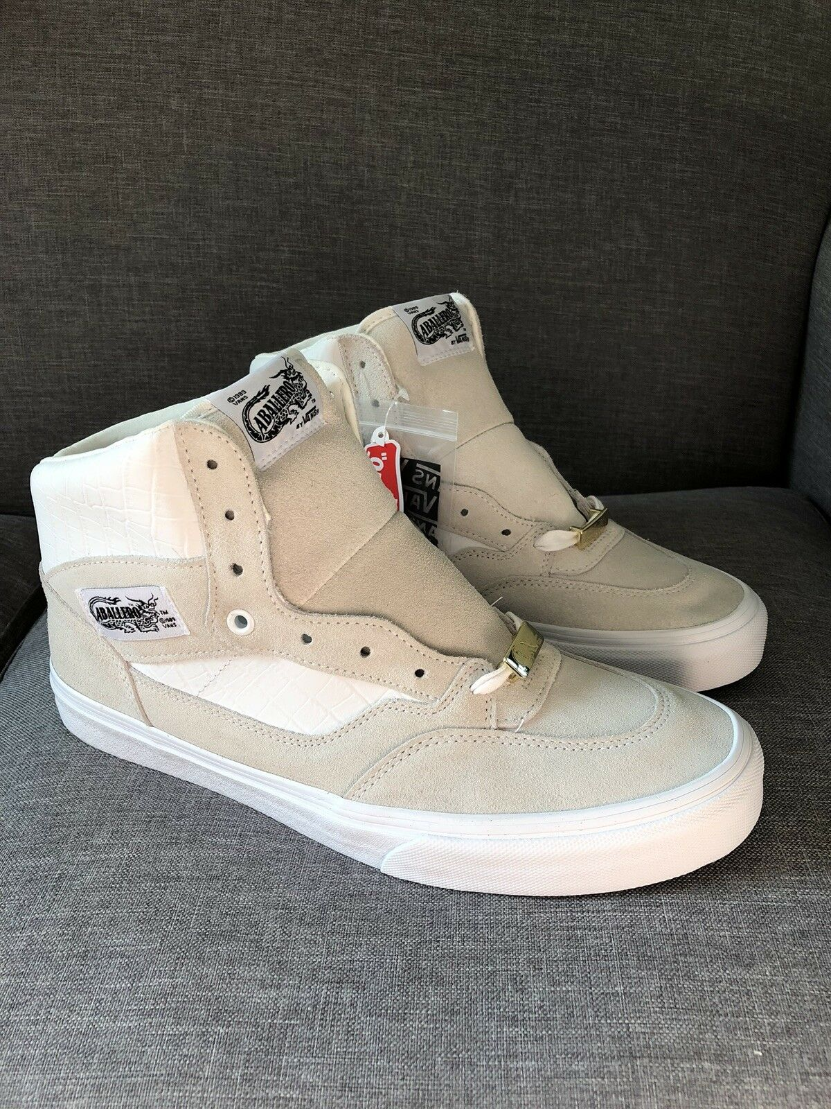 Vans Caballero Full Cab Off White Suede Leather Croc Size 11