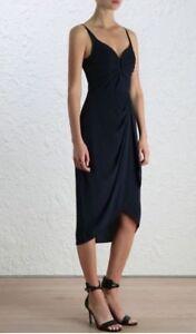 Zimmermann-Silk-Drape-Midi-Dress-Black-Cocktail-Bridesmaid-formal