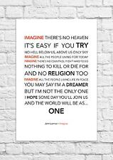 John Lennon - Imagine - Song Lyric Art Poster - A4 Size