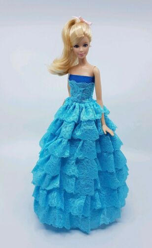 New Barbie doll clothes outfit wedding ball gown dress blue lace