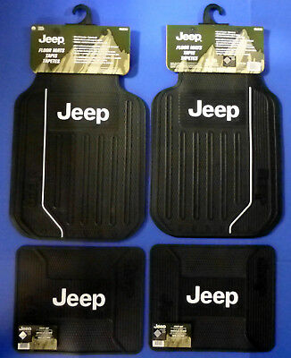 New Classic Logo Car Suv Truck Front Rear Rubber Floor Mats Universal for Jeep