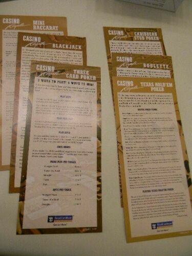 Set of 6 Royal Caribbean Cruise Line Casino Gaming Instructions