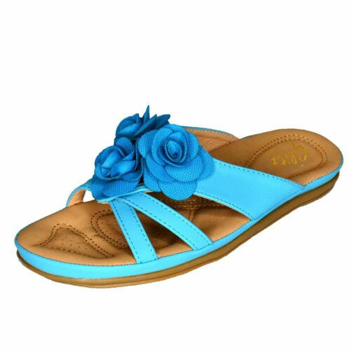 Women Summer Sliders Slip On Sandals Beach Holiday Comfy Flip Flop Flower Shoes