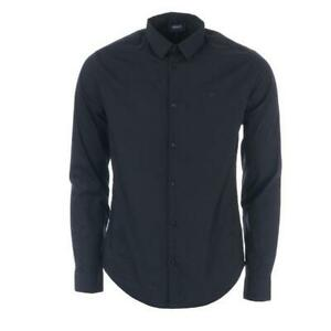 Men-039-s-Armani-Small-Logo-Slim-Fit-Long-Sleeve-Shirt-in-Navy-Size-S