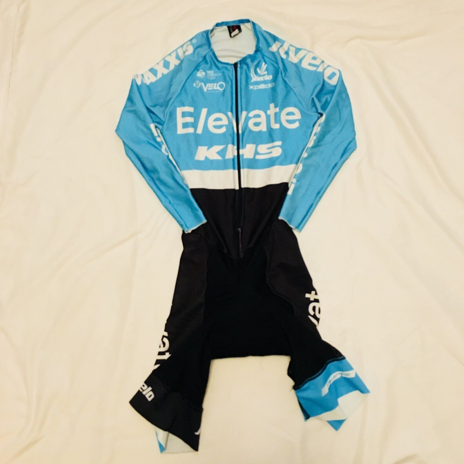 Men's 2017 JL Velo KHS Elevate Pro Cycling LS Skinsuit, Light bluee, Size 2XS EUC