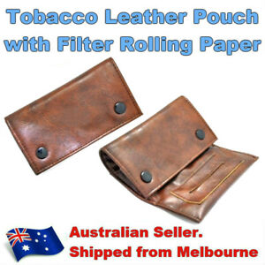 Brown Leather Tobacco Cigarette Pouch Case with Filter Rolling Paper Holder Zip