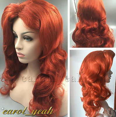 New Jessica Rabbit long wavy Copper Red women's cosplay wig party heat resisting