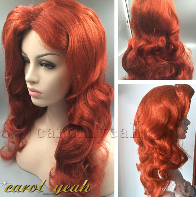 New Jessica Rabbit long wavy Copper Red women s cosplay wig party heat  resisting ba0122a5d8