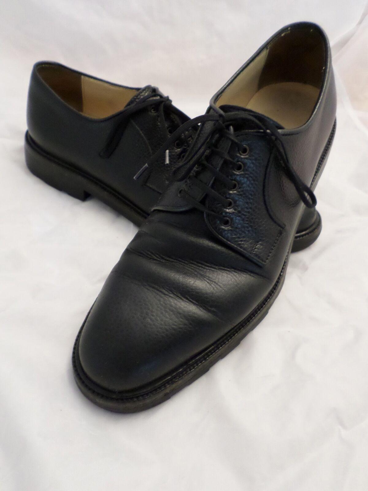 Salvatore Ferragamo black pebble leather lug tread sole new shoes shoes 7D