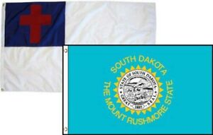 3x5 Christian Christ & State South Dakota 2 Pack Flag Wholesale Combo 3'x5'