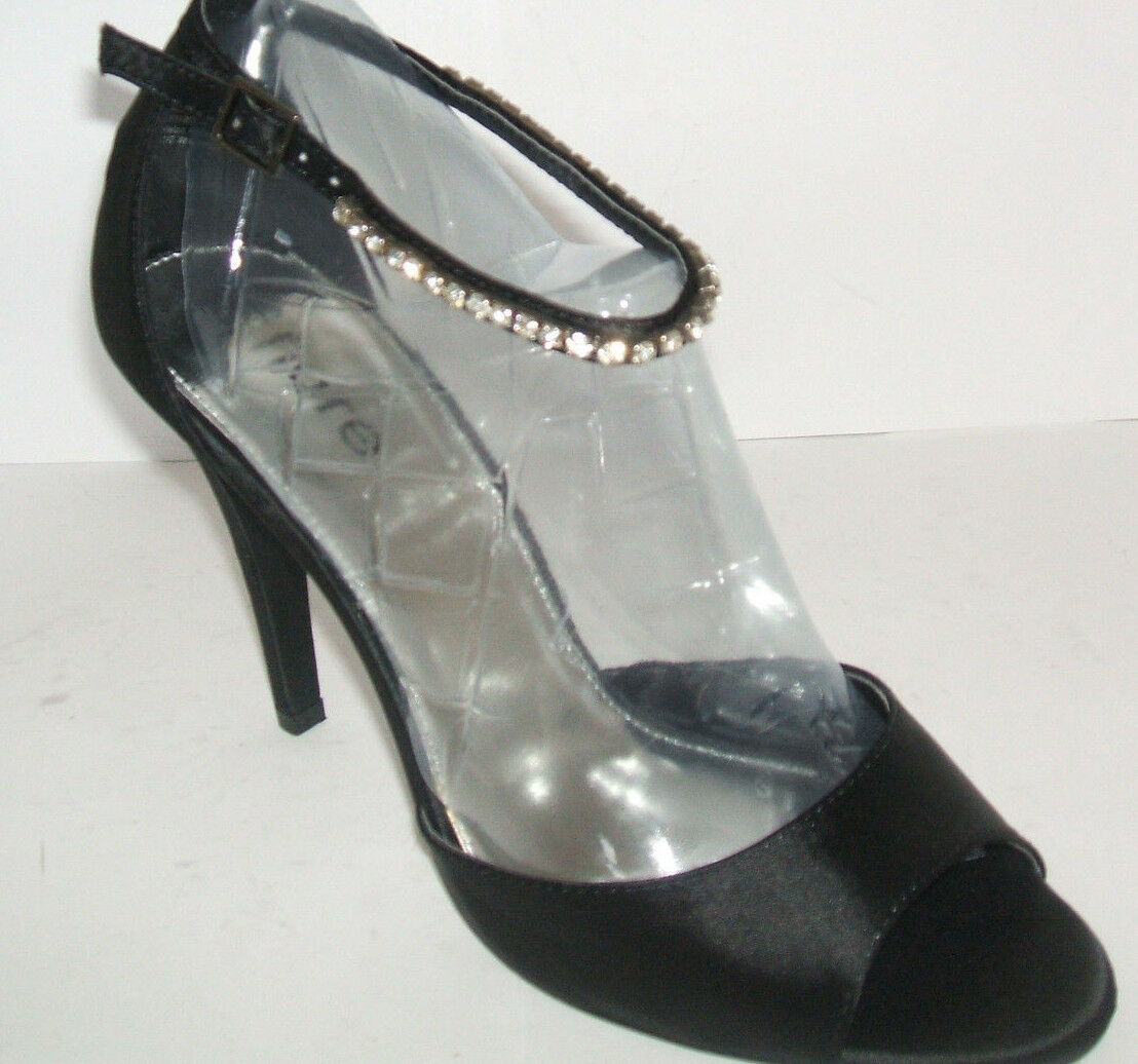 BN FIORE SIZE 6 39 BLACK SATIN DIAMANTE HIGH HEEL SEXY ANKLE STRAP SHOES SANDALS