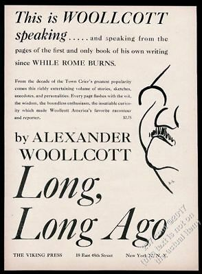 Advertising 1943 Alexander Woollcott Caricature Long Long Ago Book Release Vintage Print Ad Choice Materials Collectibles